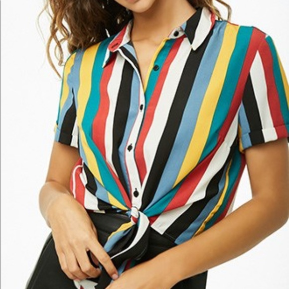 Forever 21 Tops - Forever 21 Plus Multi-Striped Tie Front Shirt